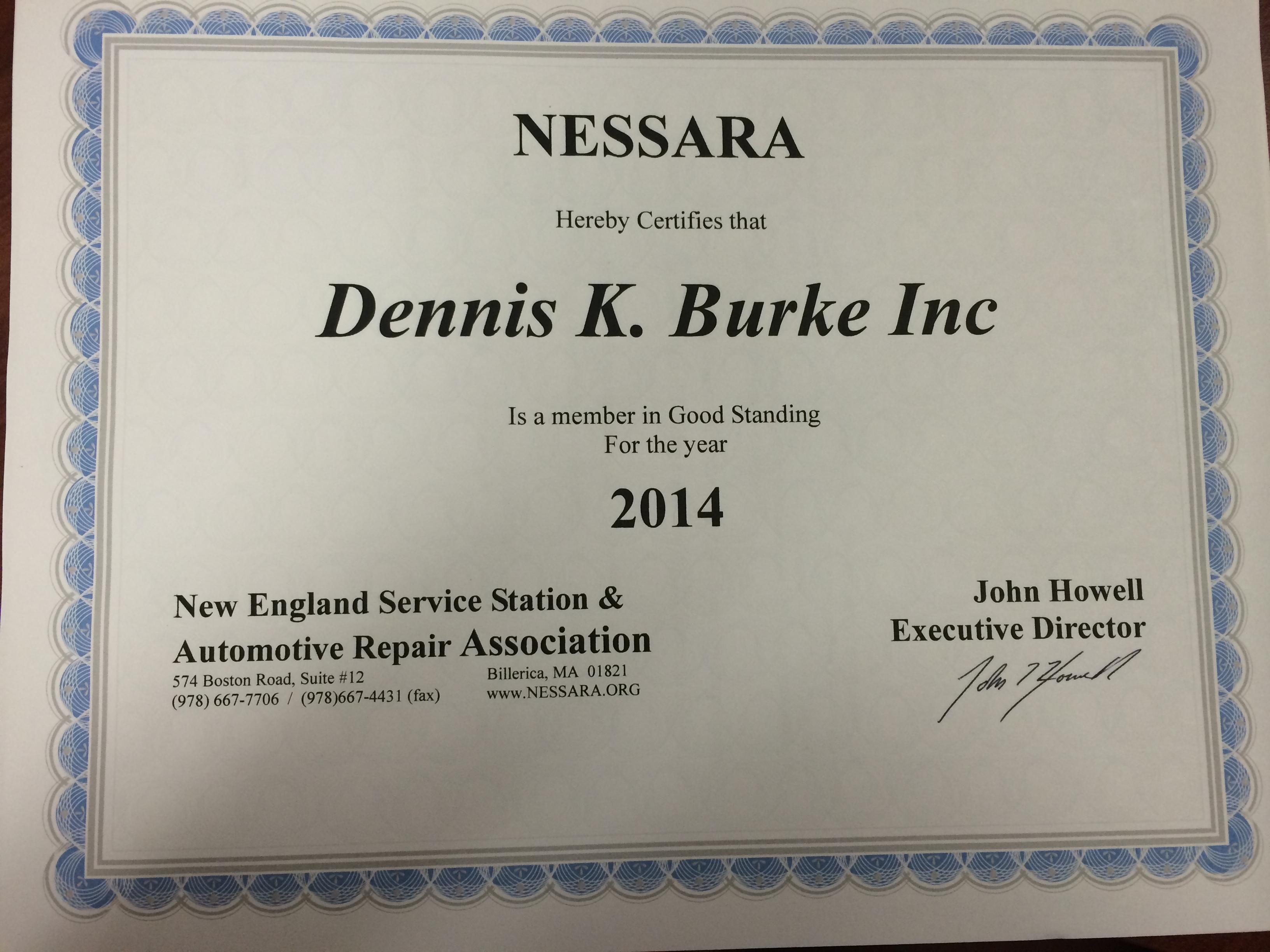 Nessara certificate for Dennis K. Burke Inc. Circa 2014