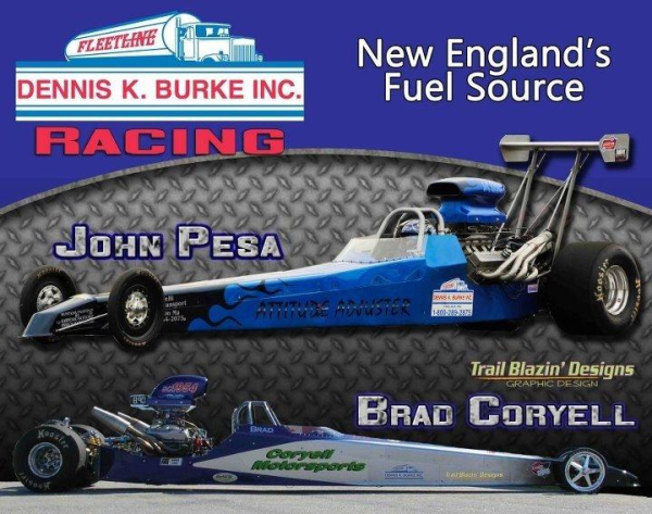 Dennis K. Burke Racing picture with two dragsters pictured