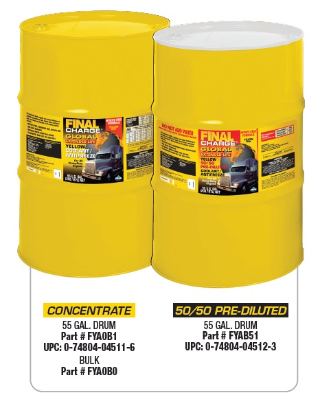 Large yellow barrels of Global Antifreeze