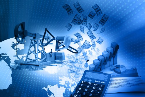 Abstract image of an oil rig, calculator and cash