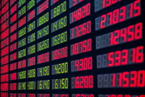 Stock market numbers on a digital display board