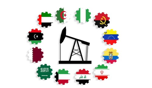 OPEC nation flags in a circle around an oil rig