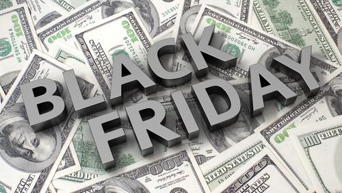 Black Friday overliad on 100 dollar bills