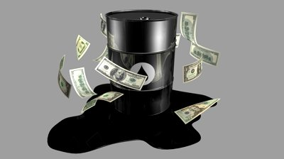 Barrel of oil with dollars falling around it