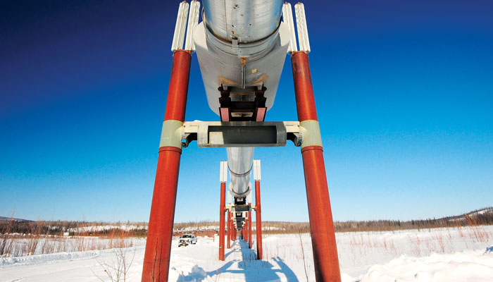 Picture of an oil pipeline in the snow