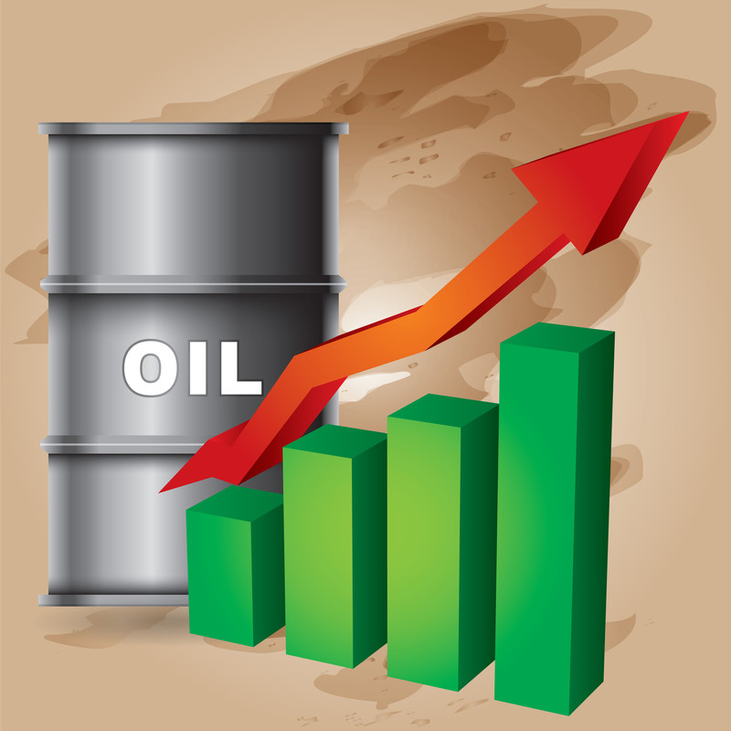 Barrel of oil with a line chart aiming up