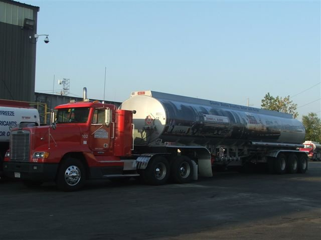 Refueling truck parked